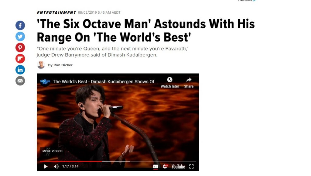 Dimash Kudaibergen in The World's Best | Dimash The Singer